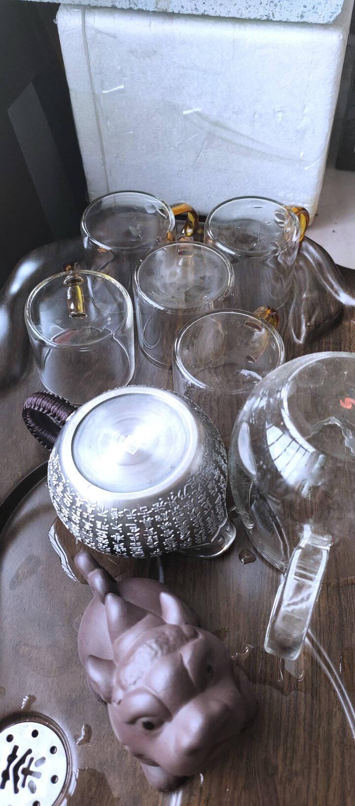 唐丰加厚耐热玻璃杯品茗杯荼只装功夫茶具带把水杯小茶杯子喝茶杯玻璃红把品茗6杯组