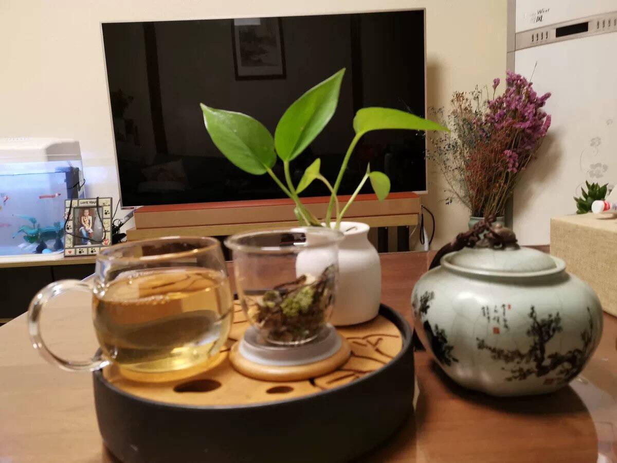 忆壶茶茶杯玻璃茶具加厚带把手喝水杯子茶水分离杯带过滤不锈钢竹盖耐高温男女士马克杯大号泡茶杯三件套茗悦杯400ml