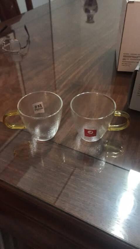 雅集100ml小资茶杯2个透明耐热带把玻璃品茶杯子功夫茶具配件