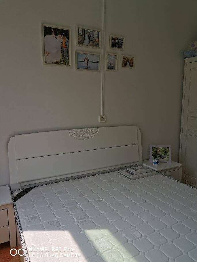 初屋床实木床1.8米双人床现代中式1.5米橡胶木婚床胡桃色单床框架床(1500mm*2000mm)