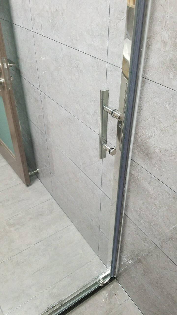 箭牌(ARROW)淋浴房隔断一字形整体304不锈钢浴室浴屏钢化玻璃屏风简易沐浴房干湿分离定制一固一活1.2-1.29m
