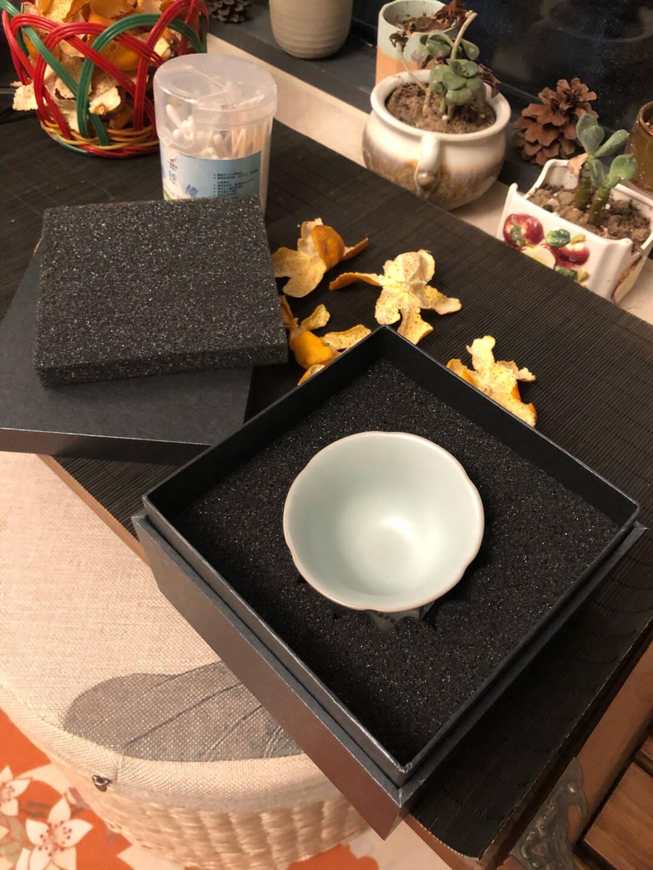 东道汝窑中葵饮杯陶瓷功夫茶具茶杯汝瓷茶具杯开片可养-天青色单杯
