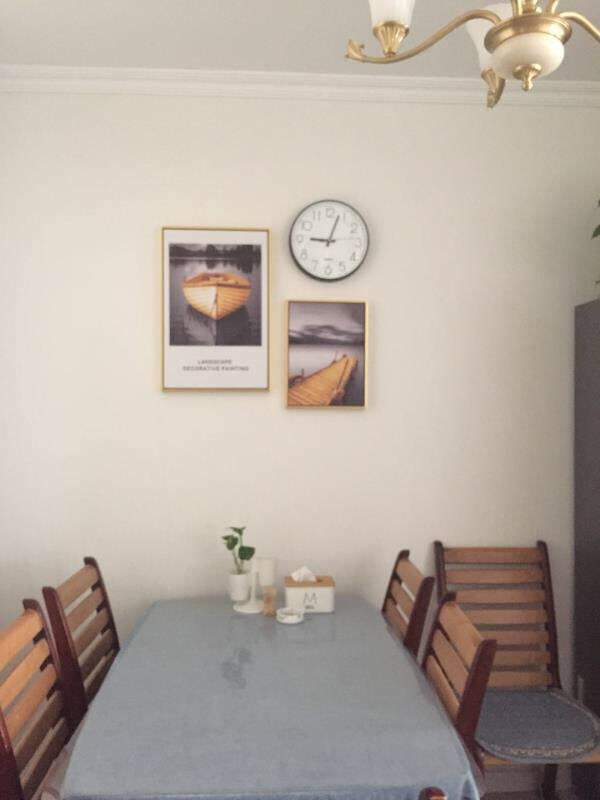 饰晴画意餐厅装饰画饭厅挂画带钟表现代简约个性创意餐厅画简欧轻奢壁画电表箱墙面装饰01小套(左40*60右50*35+钟表)布艺画