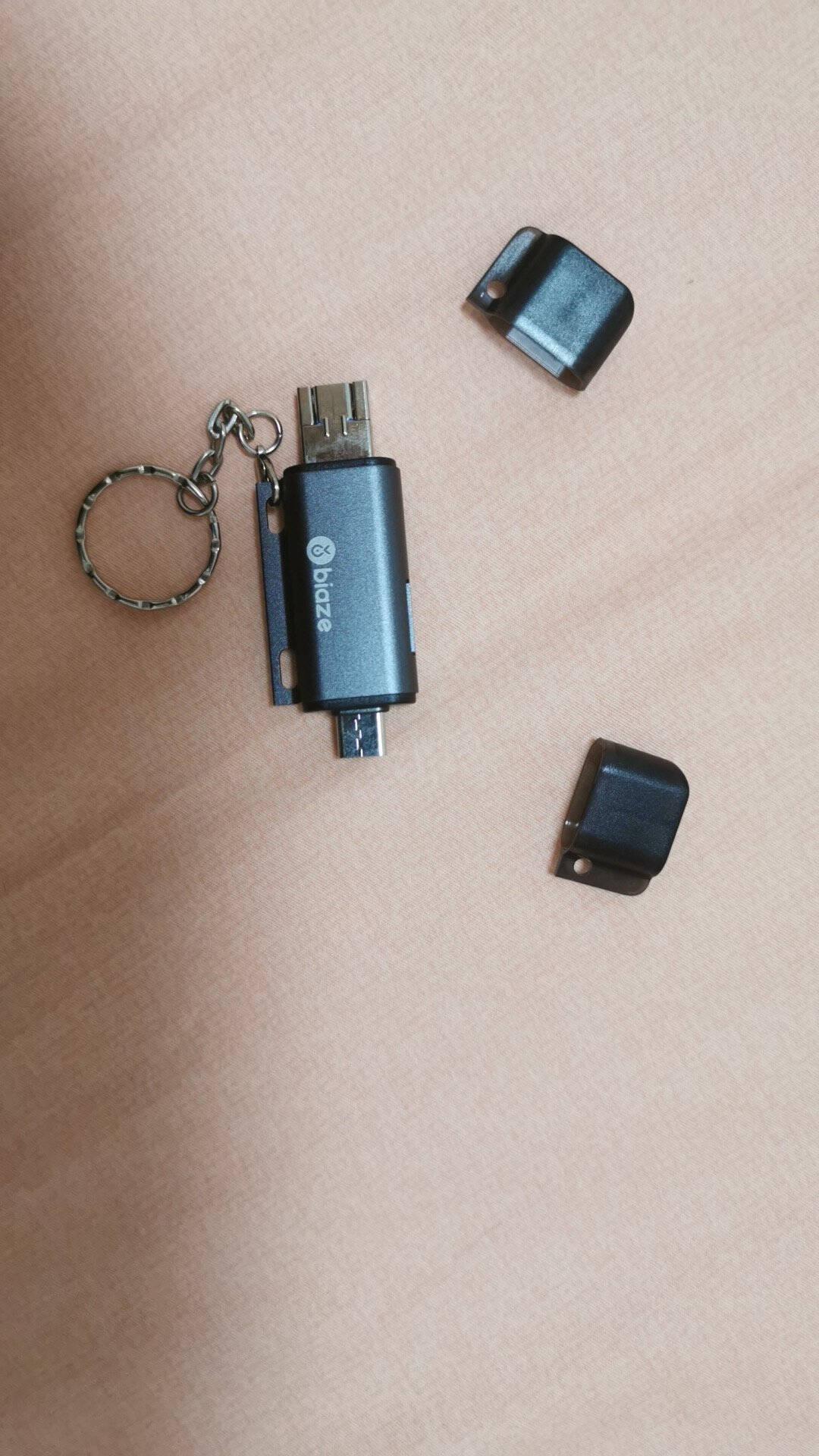 毕亚兹USB-C3.0高速多功能合一手机读卡器Type-c接口安卓OTG支持SD单反相机TF行车记录仪手机存储卡A19-灰