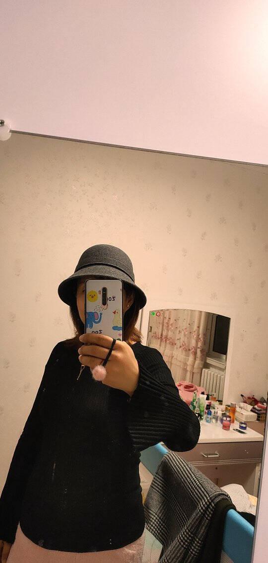 卡蒙圆顶礼帽女式毛呢帽子冬季韩版时尚保暖羊毛帽欧美毛毡帽盆帽2773深灰色可调节(57cm)