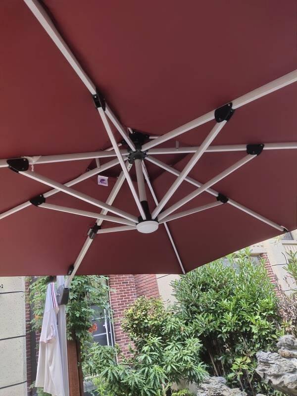 紫叶户外遮阳伞庭院伞太阳能LED带灯室外太阳伞罗马伞露台花园伞露天沙滩伞LED款2.5米方(五年不褪色,80kg水泥底座)