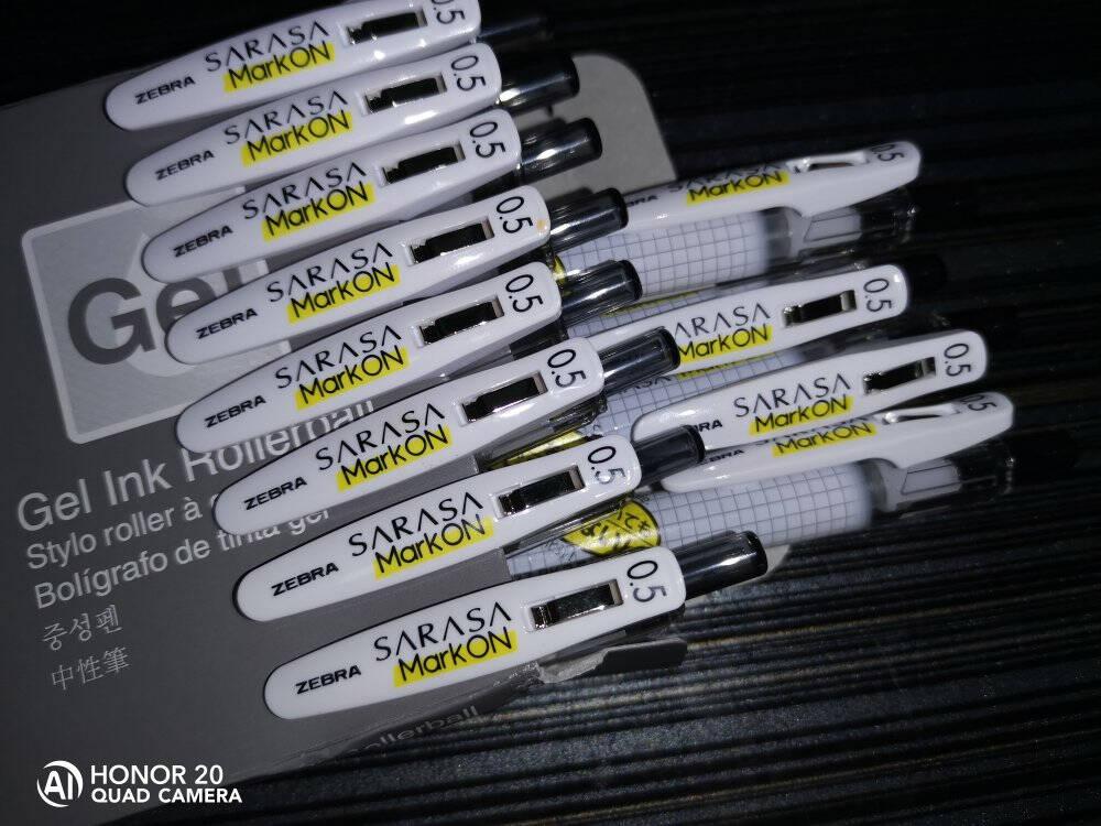 日本斑马牌(ZEBRA)中性笔0.5mm子弹头按压签字笔学生考试笔学霸系列JJ77黑色