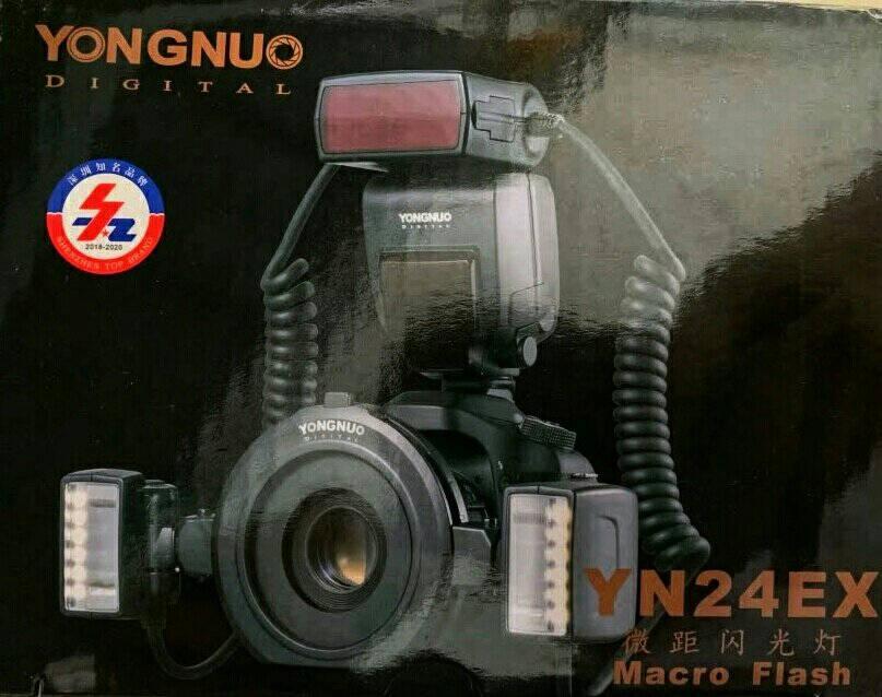 永诺YN24EX微距环形闪光灯口腔环闪灯双灯头支持自动测光佳能口