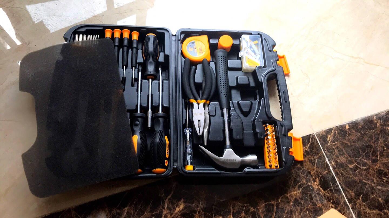 DEKO多功能实用家用工具箱套装电工木工维修五金手动工具组套组合工具套装家庭螺丝刀扳手榔头100件套工具套装