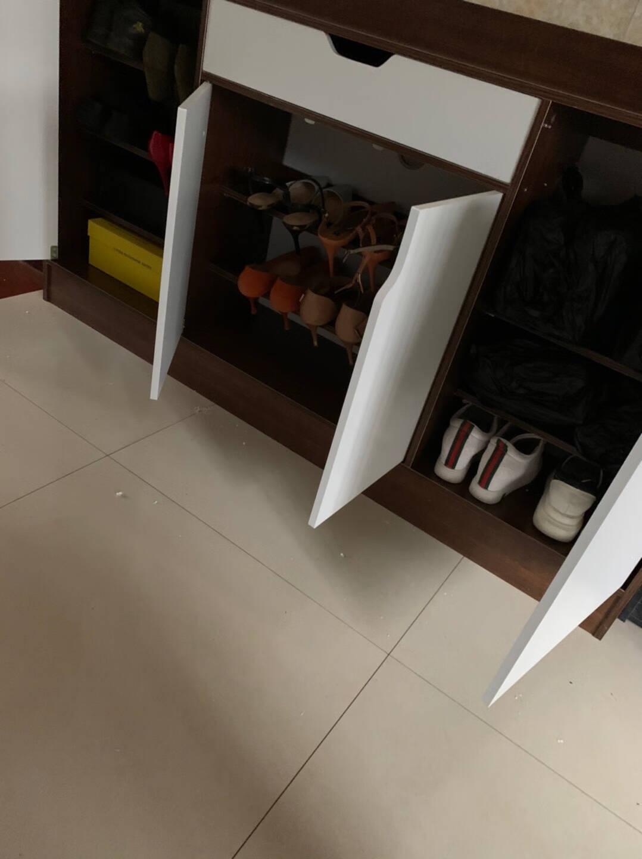 赢鸣鞋柜家用进门口外大容量玄关储物柜简约现代小户型阳台收纳柜120X30CM拉丝黑橡木色【护栏款】组装