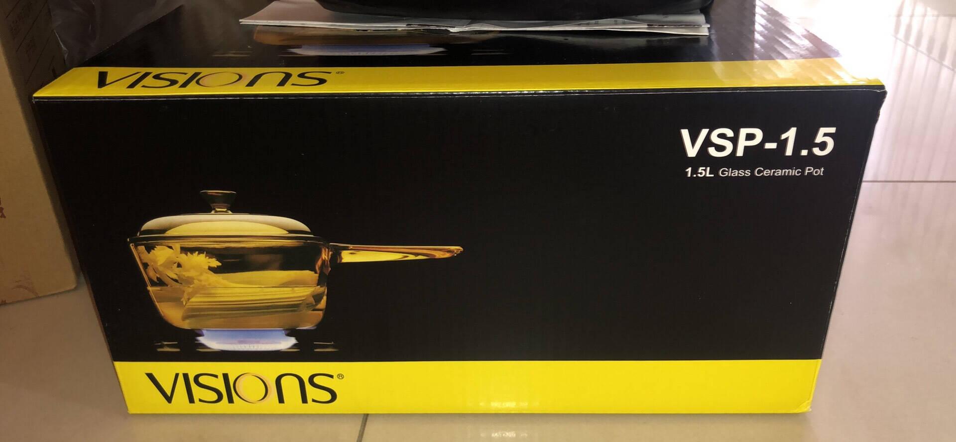 美国康宁VISIONS晶彩透明锅耐高温玻璃锅琥珀锅单柄1.5L奶锅+3.5L深汤锅2件套康宁锅