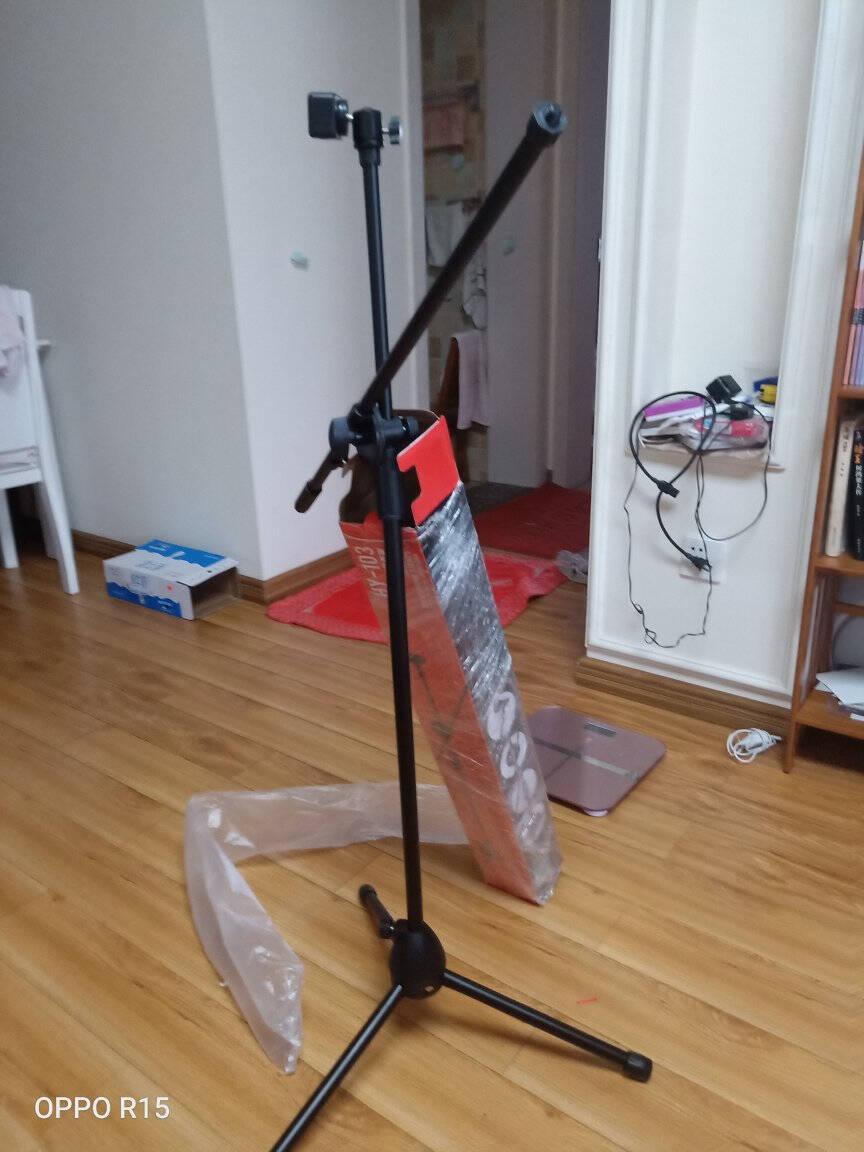 金正NINTAUSHY-103Y手机麦克风支架话筒支架K歌直播话筒架三脚落地伸缩支架