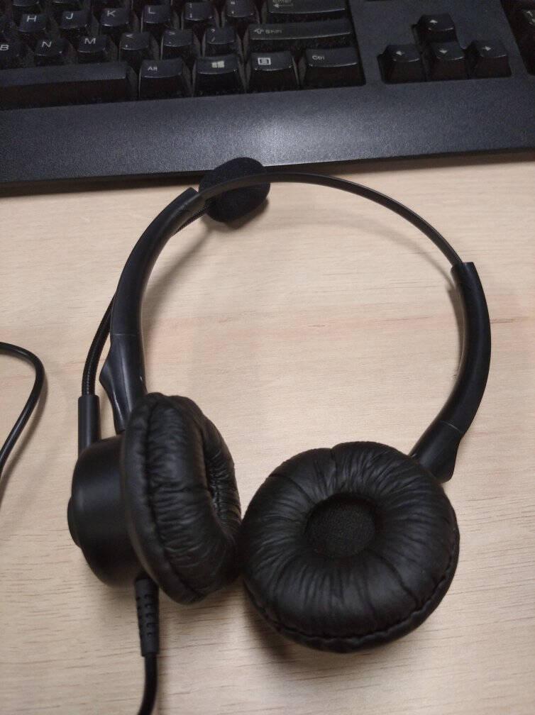 杭普VT200DH电话耳机客服耳麦呼叫中心话务员耳麦座机电话机专用降噪头戴式双耳外呼话务固话调音升级款-水晶头-调音静音