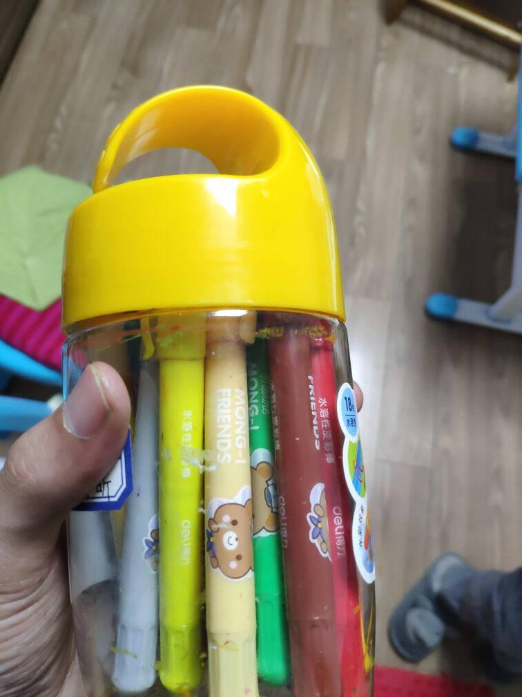 得力(deli)12色水溶性油画棒画笔不易摔断丝滑蜡笔炫彩棒美术工具转转笔彩笔幼儿绘画玩具礼物筒装72054