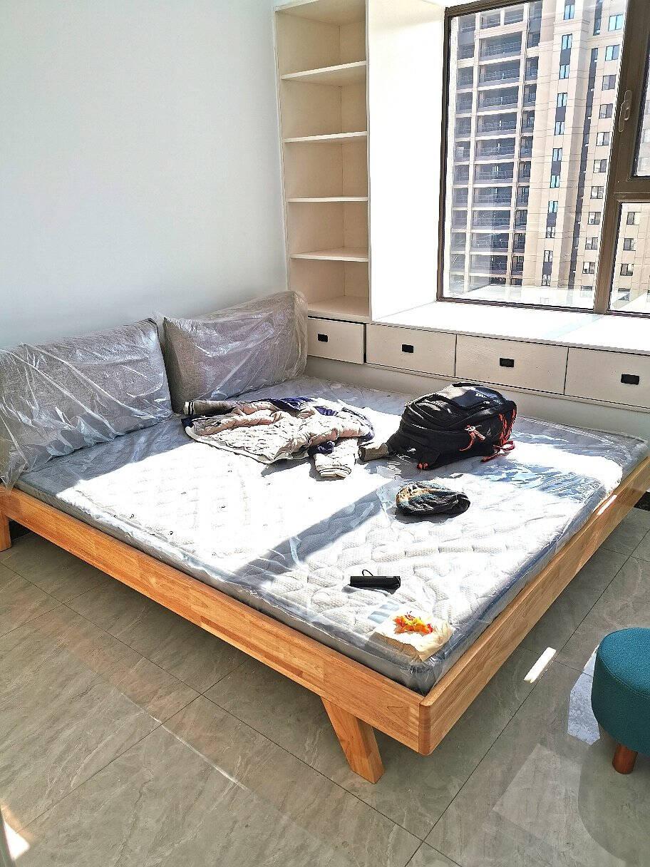简莎床实木床北欧主卧大床1.8M1.5米1.2米经济型日式简约现代双人橡木原木色婚床原木色单床1800mmx2000mm