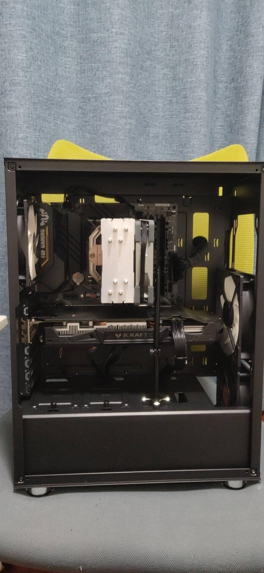 爱国者(aigo)黑曼巴F1黑色主动式静音机箱+额定650W电竞ES650全模组金牌电源