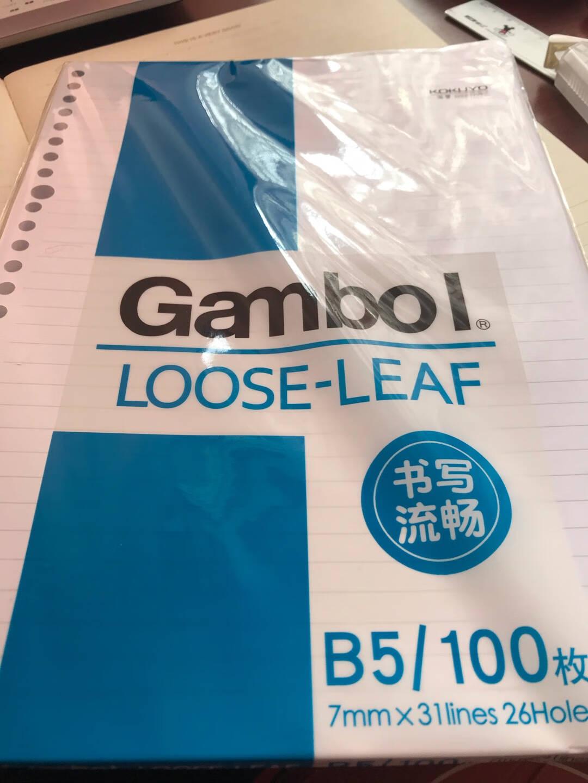 日本国誉(KOKUYO)Gambol渡边活页本替换芯活页纸替换芯活页笔记本子26孔7mm横线B5/100页1本装WCN-LL0101N