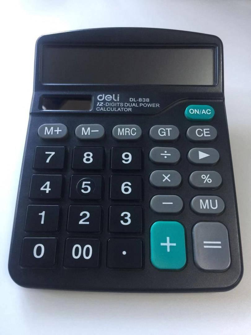 得力(deli)双电源轻便桌面计算器12位大屏桌面计算机办公用品黑色837