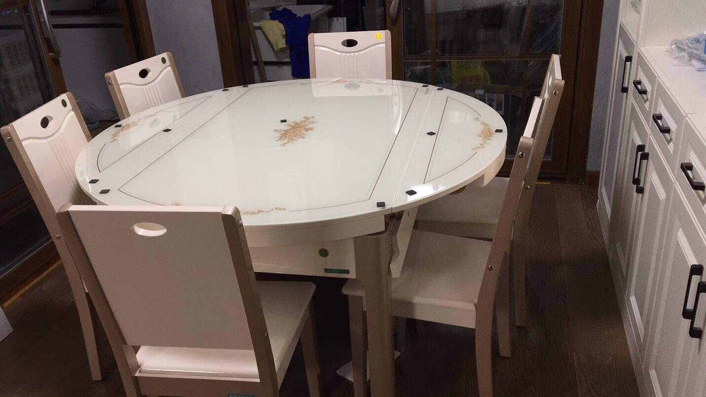 全友餐桌餐桌椅组合现代简约小户型伸缩折叠餐桌钢化玻璃圆桌家用长方形吃饭桌子餐桌椅70562一桌六椅