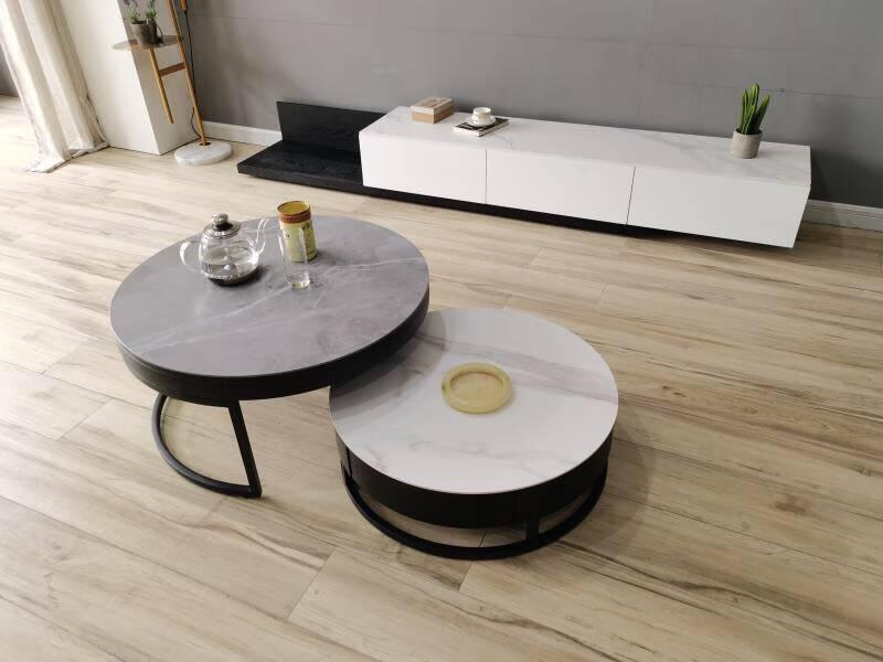 皇系(HXI)北欧岩板电视柜茶几小户型组合极简轻奢客厅茶几电视柜简约地柜阿尼玛灰茶几+电视柜组合