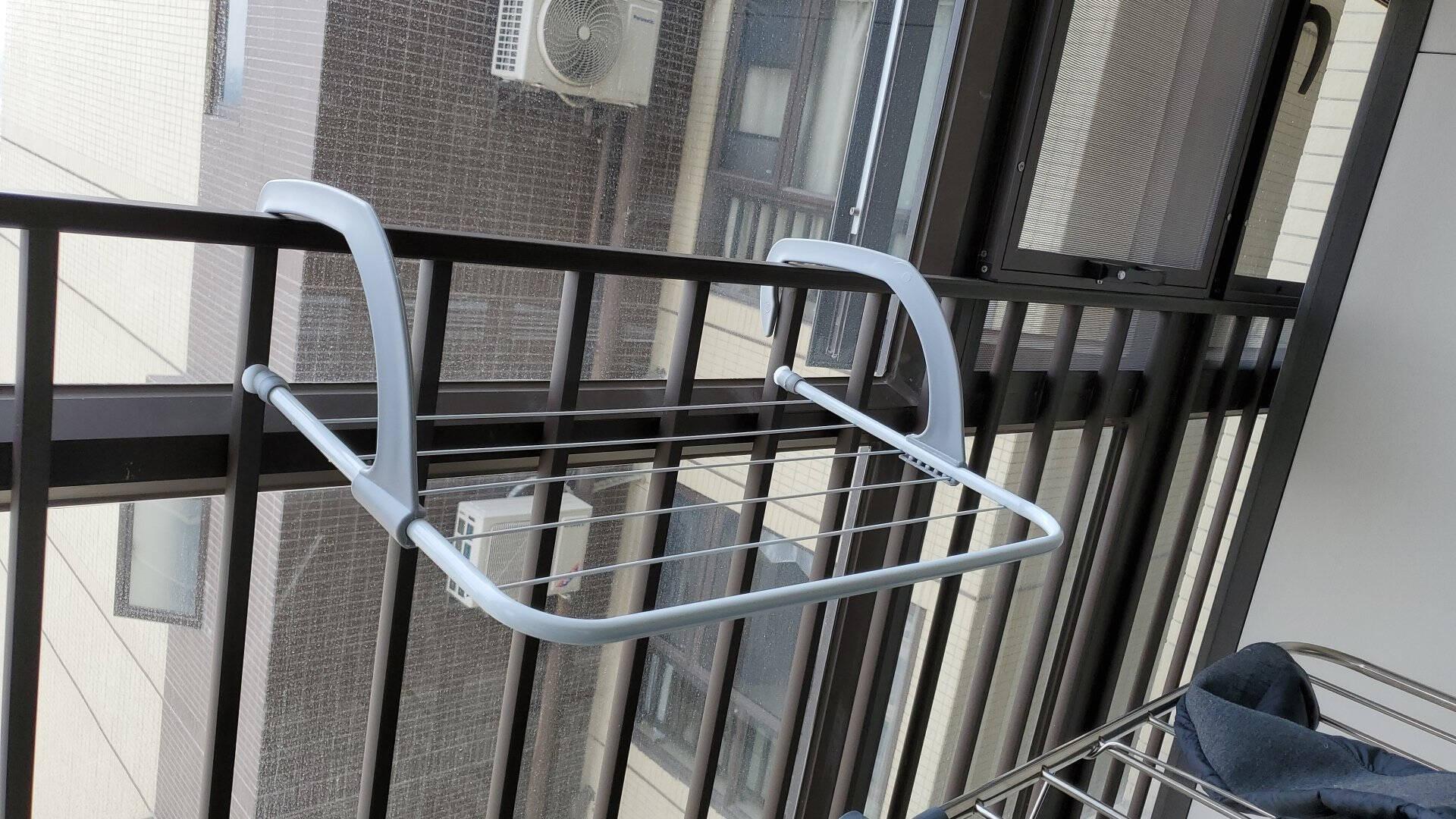 欧润哲晾晒架50cm长多功能可折叠阳台悬挂式晒衣架护栏小型晾衣架晾晒鞋架挂钩灰色