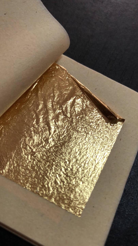 金线牌24k纯金箔佛像工艺品贴金箔纸吊顶贴线金纸小真金箔纸10张4.33cmX4.33cm