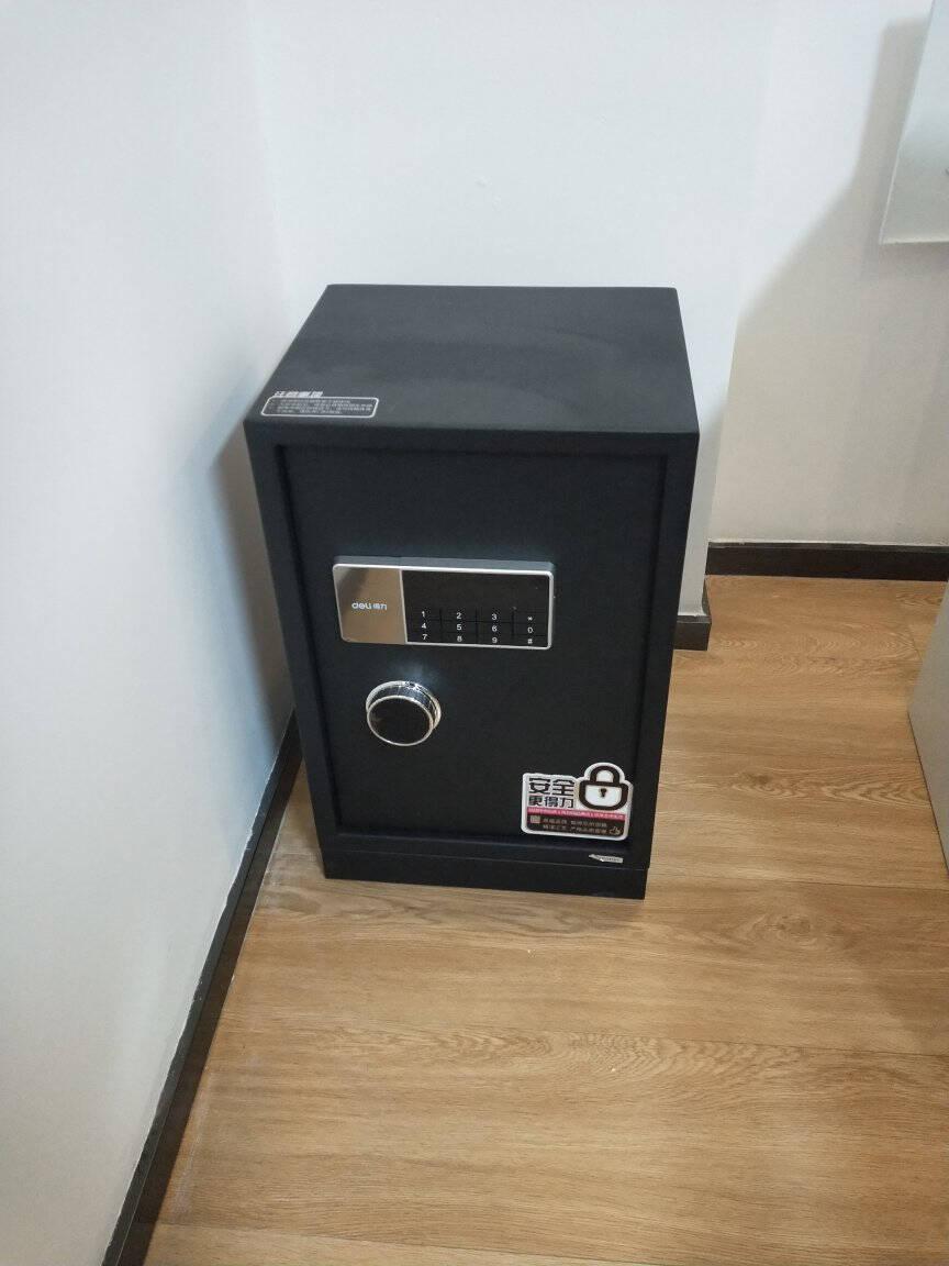 得力(deli)保险柜高45CM指纹+密码双重防盗保险保管箱家用小型保管柜床头柜27315自动开关门+智能呼吸灯