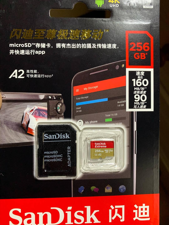 闪迪(SanDisk)64GBTF(MicroSD)存储卡U3C10A2V304K至尊极速移动版内存卡读速160MB/s写速60MB/s