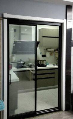 德拉厨房推拉门阳台铝合金卫生间门谷仓门室内门卧室门玻璃门折叠门移门地轨吊轨吊滑门可装阻尼无包/地轨/1.8CM边框/㎡单层玻璃