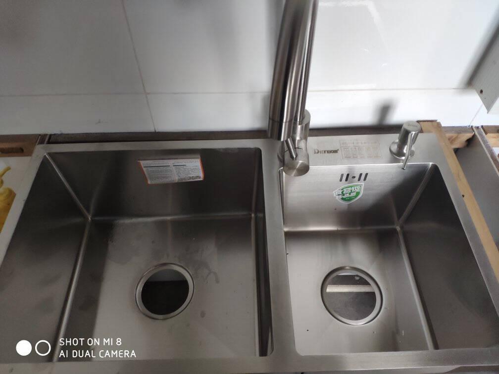 德国Detbom纳米银手工水槽双槽304不锈钢加厚厨房洗菜盆双盆洗菜池洗碗池银纳米E套餐长75宽41-E银纳米