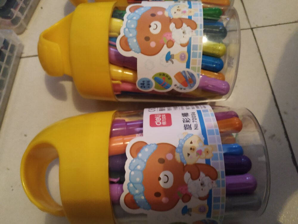 得力(deli)18色水溶性油画棒画笔不易摔断丝滑蜡笔美术工具彩色涂色彩笔幼儿绘画文具玩具礼物筒装72055