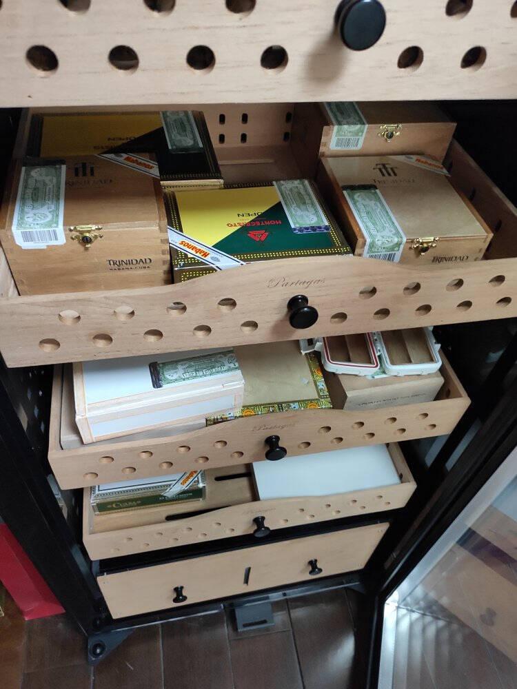 帕特加斯(Partagas)精准控湿恒温雪茄柜压缩机保湿柜恒温恒湿烟丝裸养盒养温湿分离1260MM高-玫瑰金