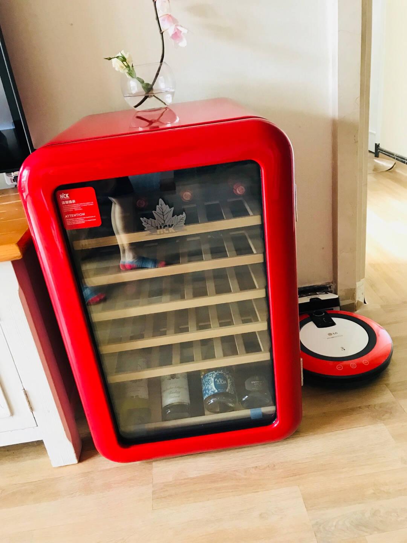 哈士奇(HCK)115L复古红酒柜恒温单门家用展示冷藏49瓶红色