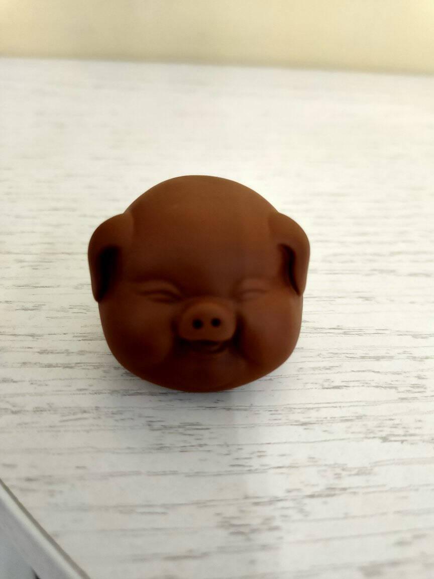 宇轩紫砂茶宠摆件茶玩茶艺小猪精品可养招财小福猪茶盘茶虫家居小福猪-红泥