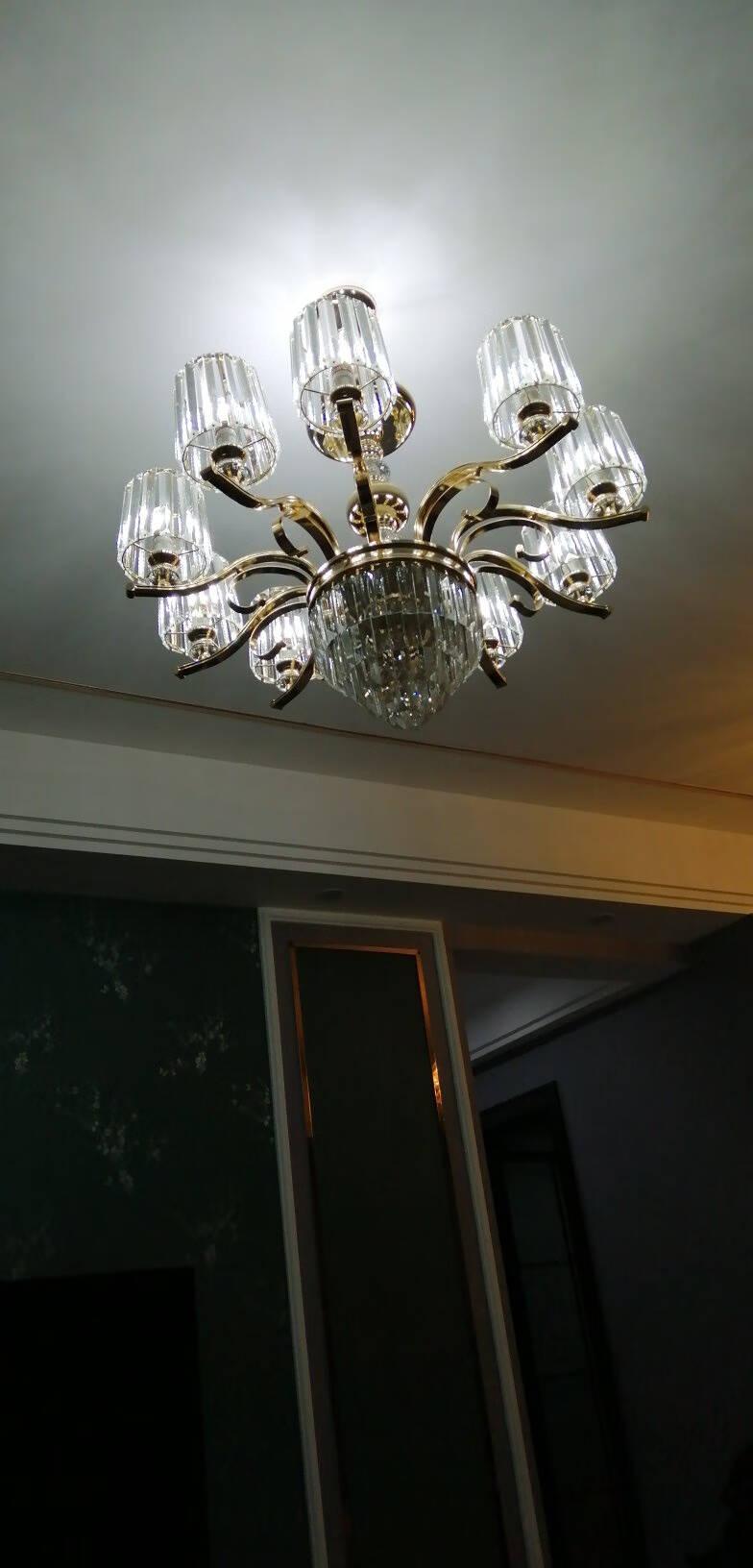 韵钰客厅吊灯欧式奢华大气水晶灯吸吊两用轻奢卧室餐厅复式楼吊灯具套餐6头(三色调光)吸吊两用