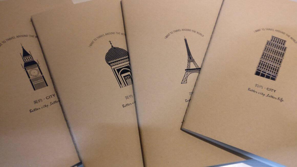 得力(deli)12本A5/40张牛皮纸缝线软抄本办公记事本文具笔记本子FA54003