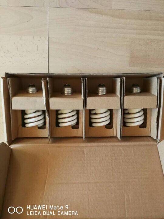飞利浦灯泡螺旋型节能灯三基色大螺口E27标准型节能灯泡大瓦数超亮荧光灯管客厅厨房23W-E27-白光-四只装