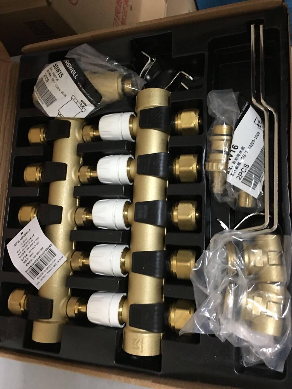 SASWELL森威尔地暖分水器地热分水阀双阀黄铜分集水器SDU-ZD系列四路套装--左右进水都适用