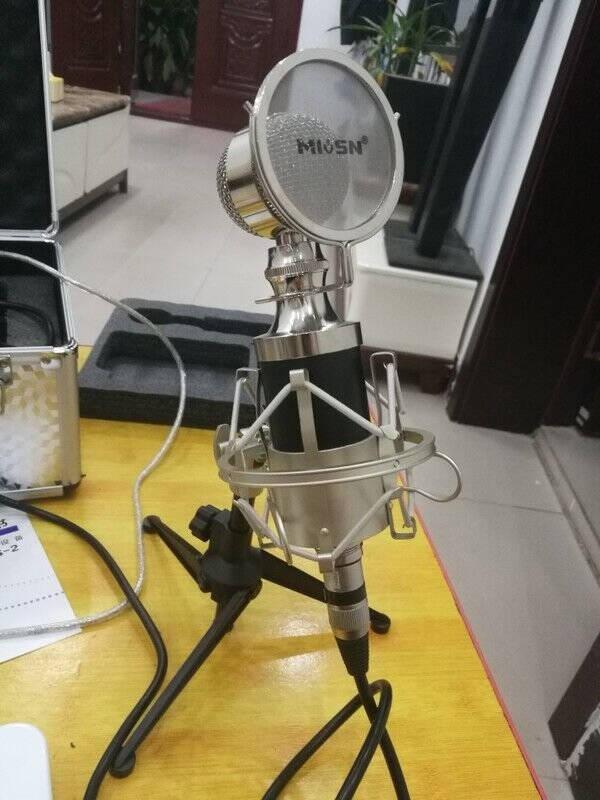 魅声T8-2手机声卡K歌快手主播直播电容麦克风喊麦唱歌录音设备电脑外置声卡话筒唱吧K歌套装银色(赠送铝箱)