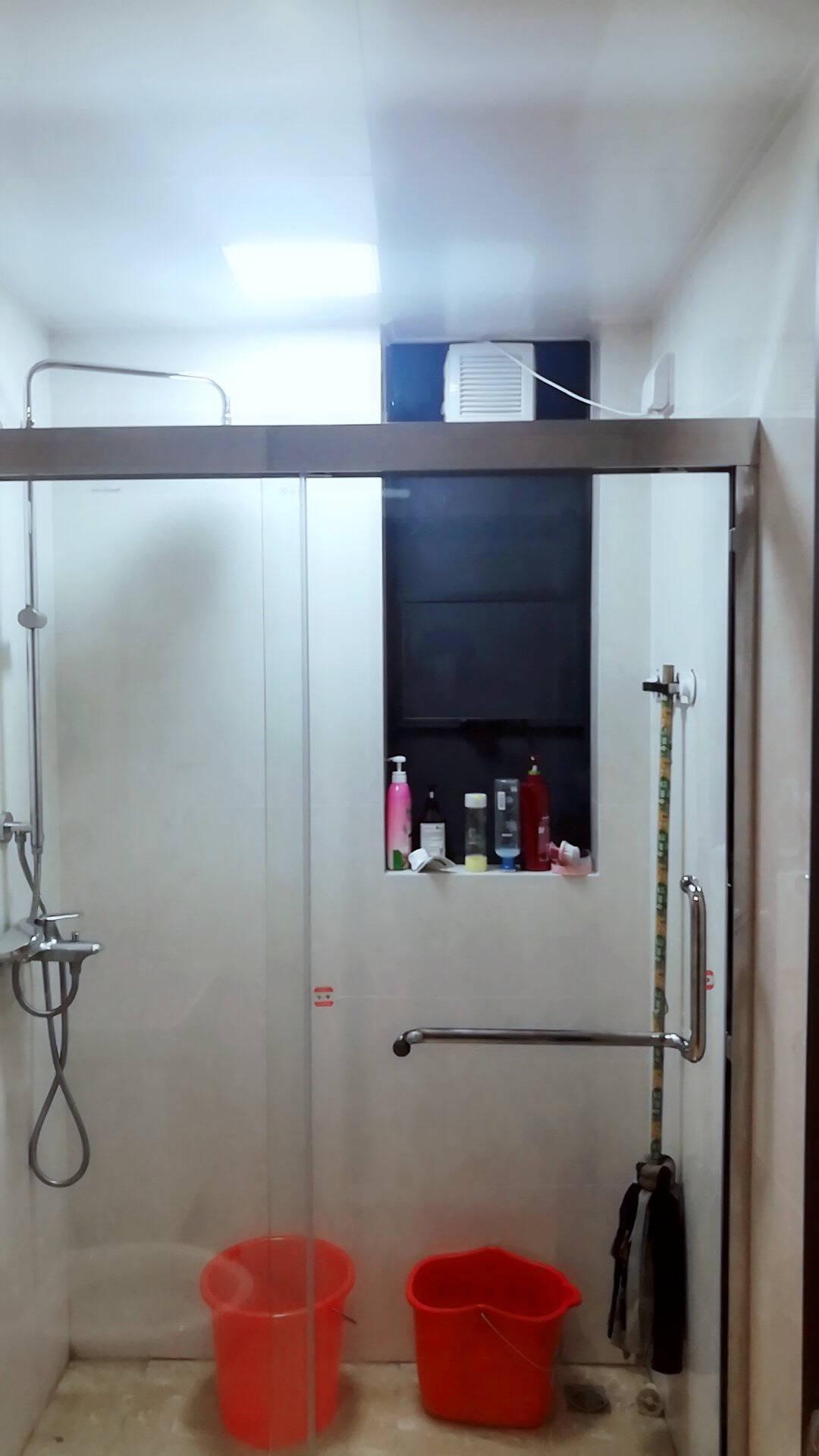 莱博顿定制不锈钢淋浴房浴室隔断浴屏洗澡间一字形浴室钢化玻璃门卫生间推拉移门整体沐浴房带防爆膜双门移动(304不锈钢边框+防爆膜)/平方价