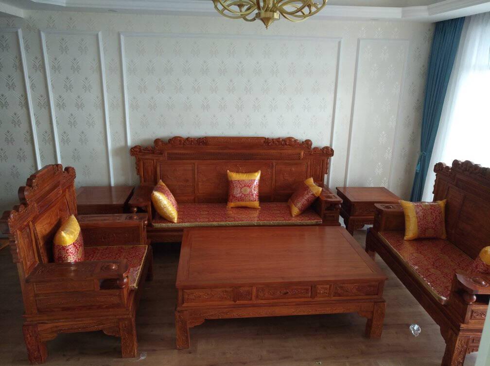 【同价618】周家庄红木家具非洲花梨(学名:刺猬紫檀)餐桌实木餐桌长方形餐桌实木中式餐桌椅组合1.5米餐桌+6餐椅(特价)