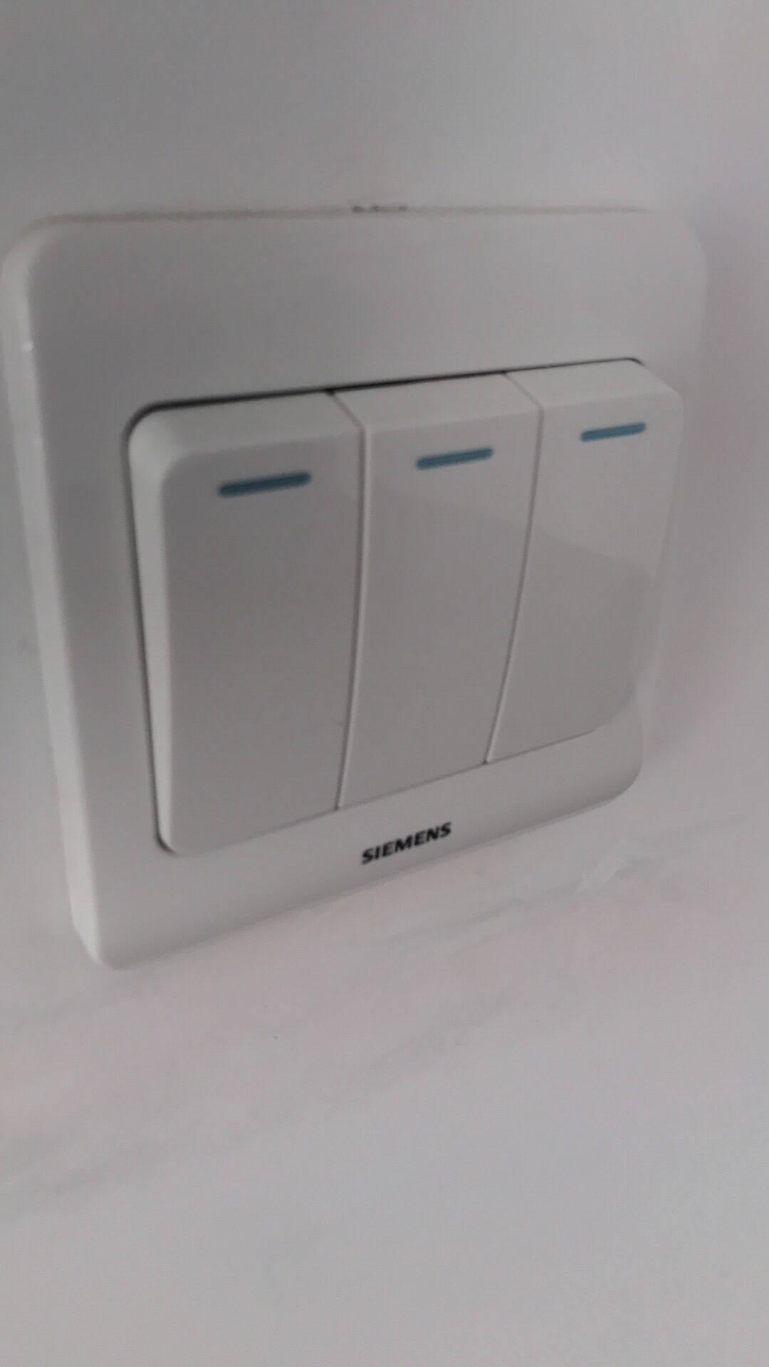 西门子(SIEMENS)开关插座一开单控带荧光面板86型暗装面板远景雅白色