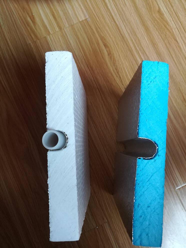 菲斯诺地暖模块薄型干式免回填超导铝板水地热暖模块挤塑板安装样品装20×20