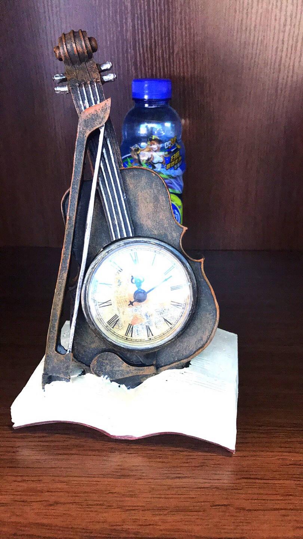 墨斗鱼复古摆件小提琴钟表2340中式简约古典雅致工艺品礼物卧室书房电视柜酒柜装饰品摆件