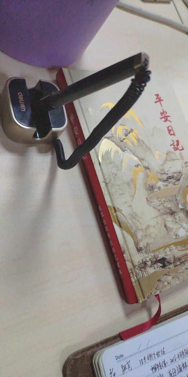 得力(deli)0.5mm商务办公桌面台笔签字笔可粘贴台式中性笔单支6796灰