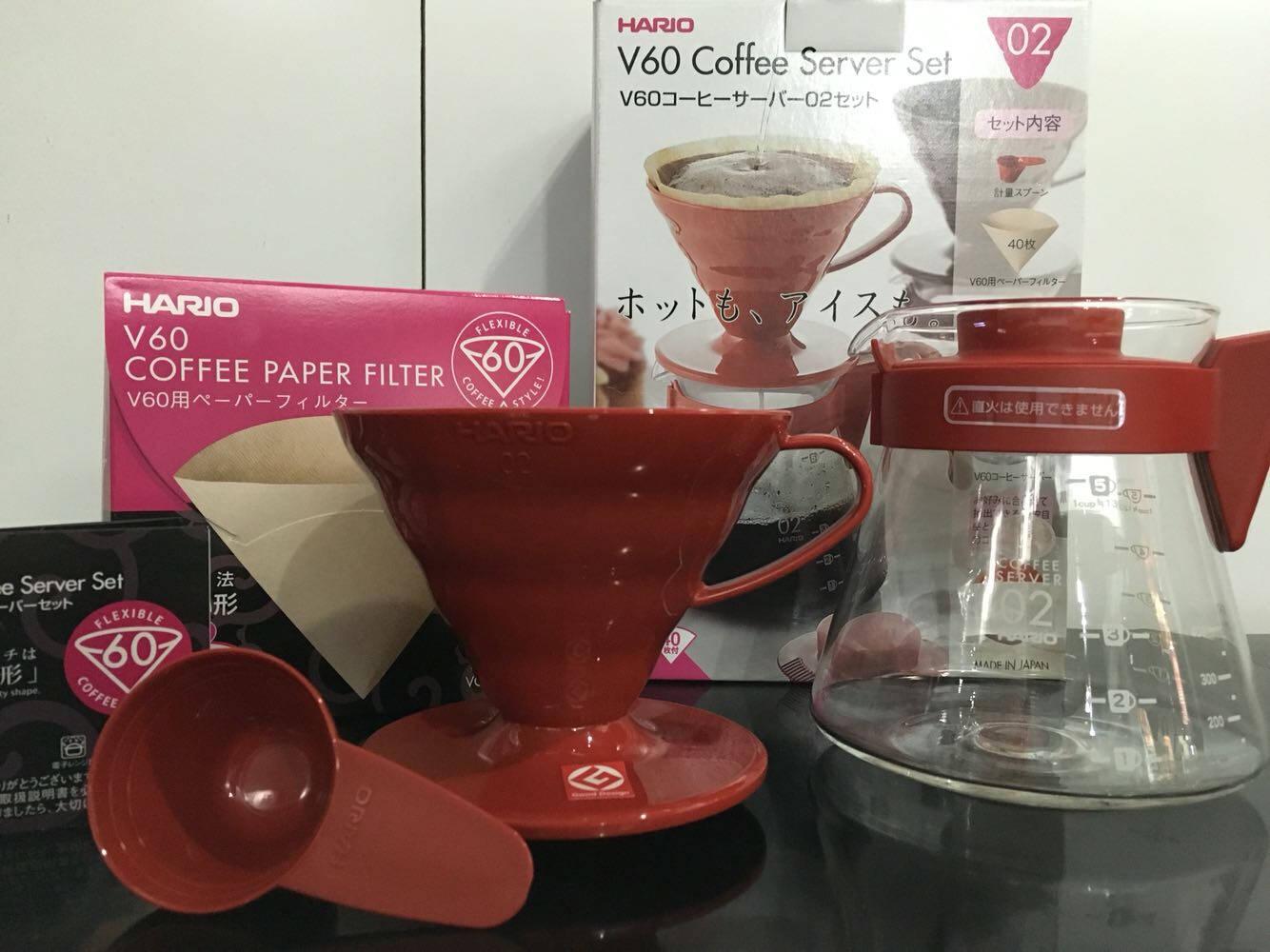 HARIO日本进口咖啡套装耐热玻璃V60滴滤式咖啡滤杯新手咖啡壶套装定制款