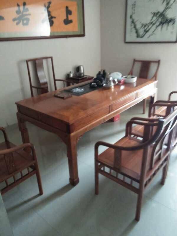 好木名作红木家具缅甸花梨(学名:大果紫檀)茶桌实木茶桌茶桌椅组合功夫茶桌中式仿古泡茶桌七件套茶桌