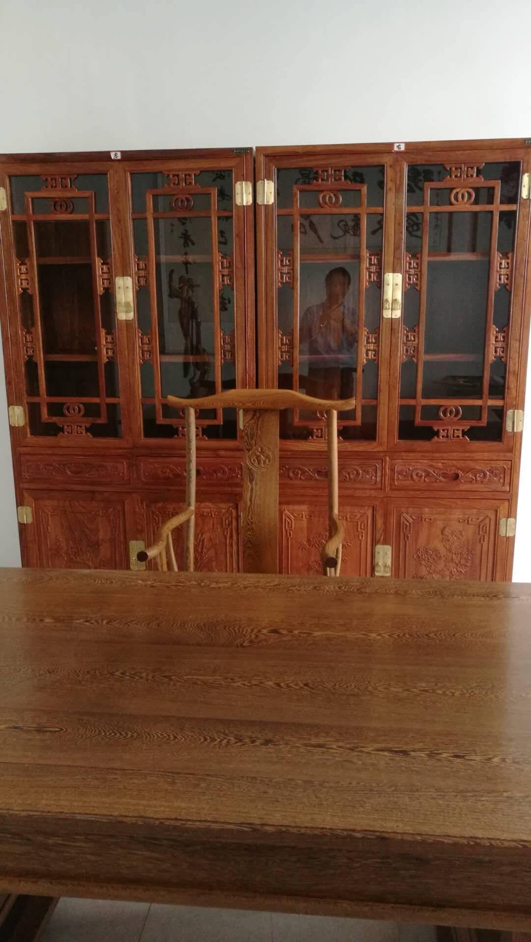 粤顺红木家具非洲花梨(学名:刺猬紫檀)书柜博古架全实木书柜中式仿古四门书柜组合储物柜展示架一对书柜