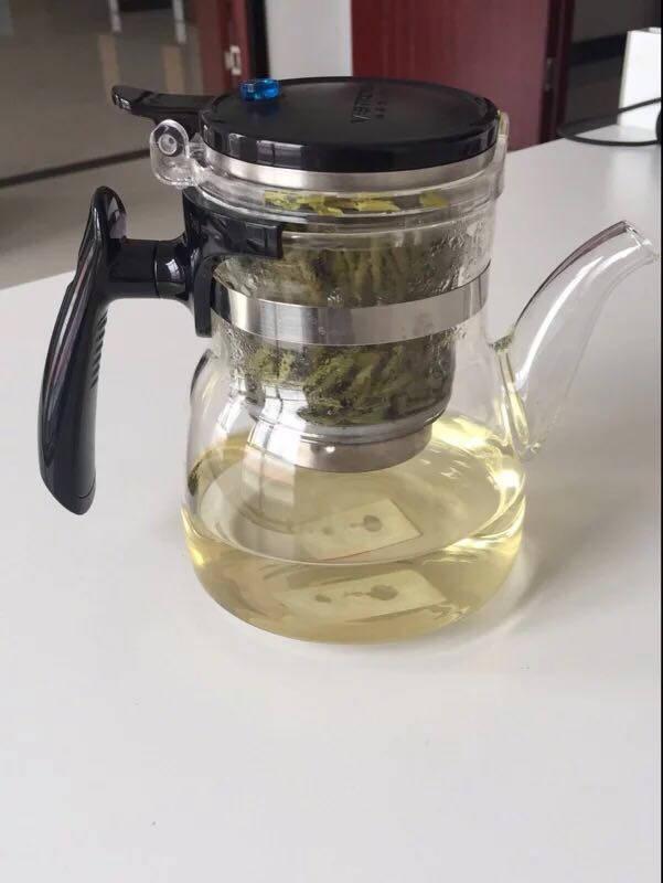 唯成950ml大容量茶壶耐热玻璃内胆飘逸杯全玻璃不锈钢过滤可拆卸内胆冲茶器茶水分离茶壶长嘴款GL950