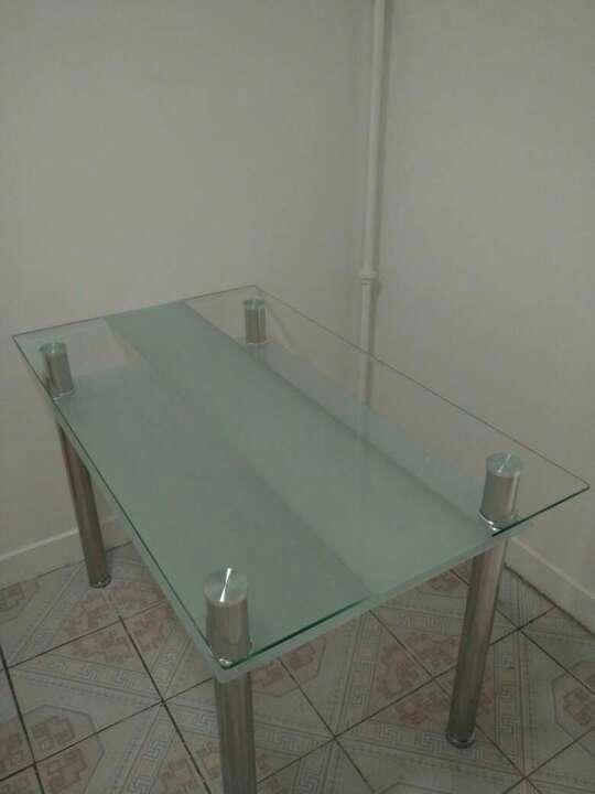 博美嘉钢化玻璃餐桌简易组装长方形简约现代餐厅玻璃方桌饭桌小户型简单玻璃餐桌四人桌白色桌(大款)